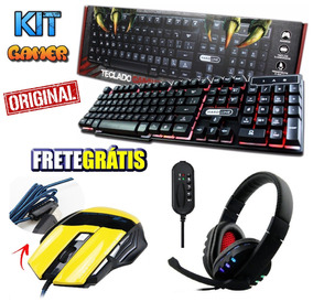 Kit Gamer Teclado Luminoso + Mouse + Headset C/ Microfone Pc