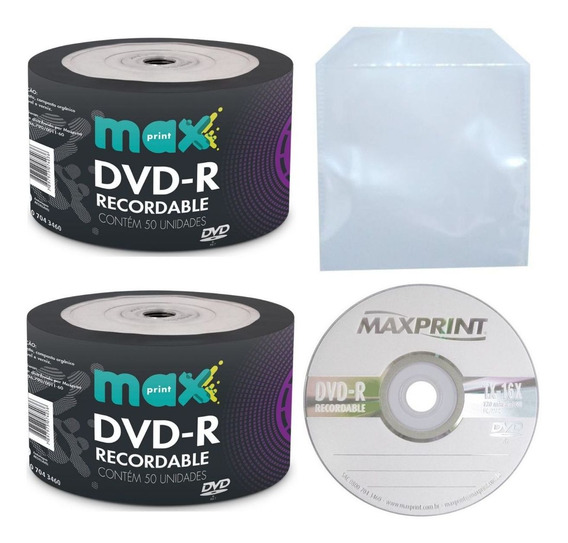 600 Midia Dvd-r Virgem Maxprint 4,7gb Com Logo+600 Envelopes De Plástico Transparente Com Aba Sem Cola
