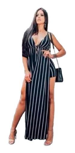 Vestido Longo Listrado Fendas C/ Short Cintura Alta Novidade