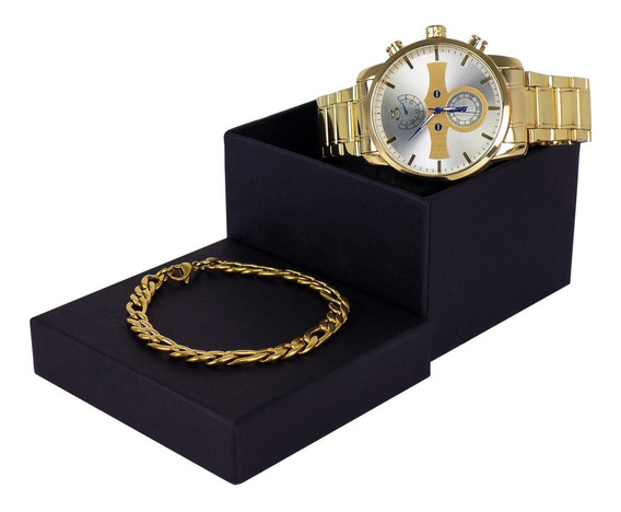 Relogio Masculino Dourado/brindes Corrente+pulseira Gratis
