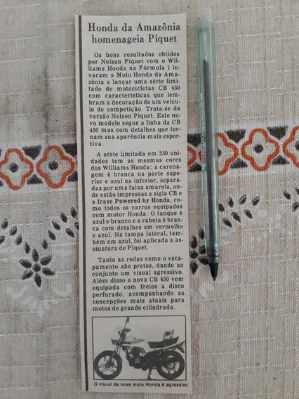 Recorte Jornal Matéria Honda Amazônia Cb 450 Nelson Piquet