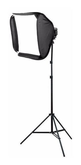 Kit Softbox P/ Flash Speedlight 60x60 + Tripé Iluminação 2mt