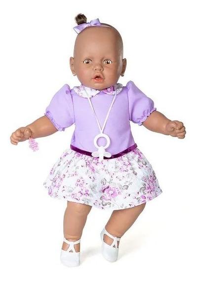 Boneca Meu Bebê Negro Com 60 Cm Sapato E Chupeta Estrela