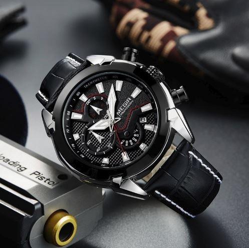 Relógio Masculino Megir 2065 Cronógrafo Luxo Alta Qualidade