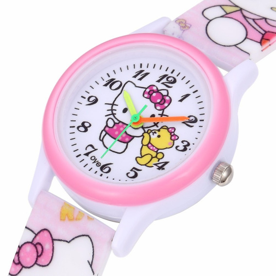 Relogio Saat Montre Enfant Silicone Hello Kitty