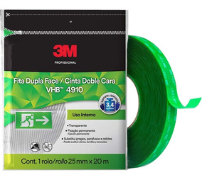 Fita Dupla Face Transparente 25mm X 20m 3m Vhb 4910