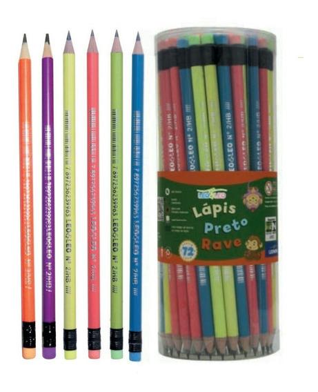 72 Lápis De Escrever Neon,com Borracha