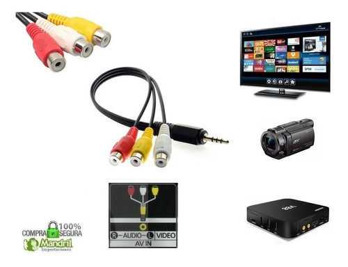 Cable Mini Jack Av 3.5m A Rca Tv Smart Filmadora Android Box