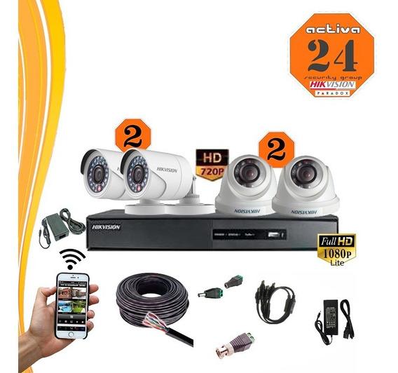 Kit Seguridad Hikvision 4 Camaras +dvr 8ch+cable +ficha+fuen