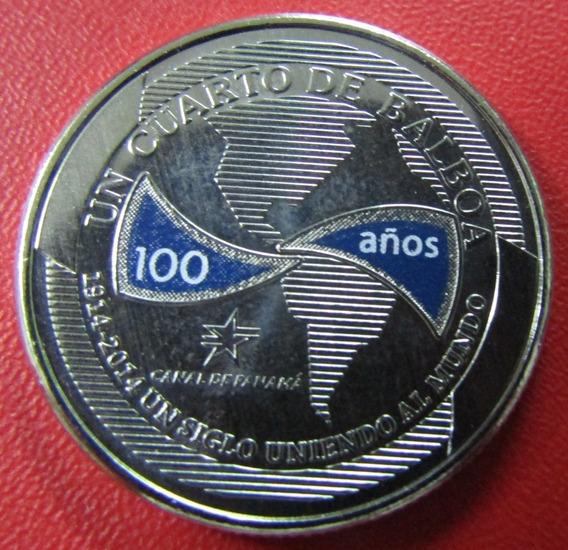 Panama Moneda Esmaltada ¼ Balboa Unc 2016 100º Aniv Canal