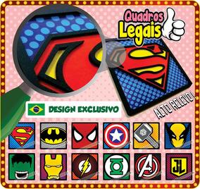 2 Placa Super Heroi Quadro Em Relevo À Escolher