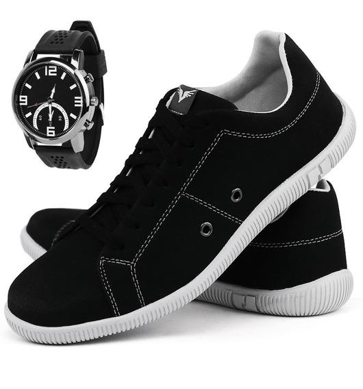 Tênis Sapatênis Casual Leve Lançamento Blackfriday + Relógio