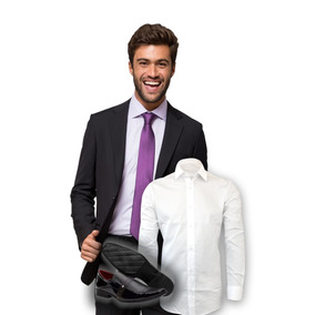 Terno Slim Masculino Oxford + Sapato + Camisa Social Branca