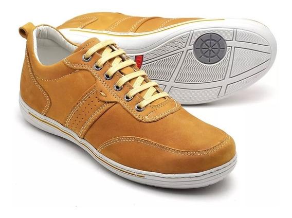Sapato Sapatênis Lindo Em Couro Legítimo Palmilha Gel Barato