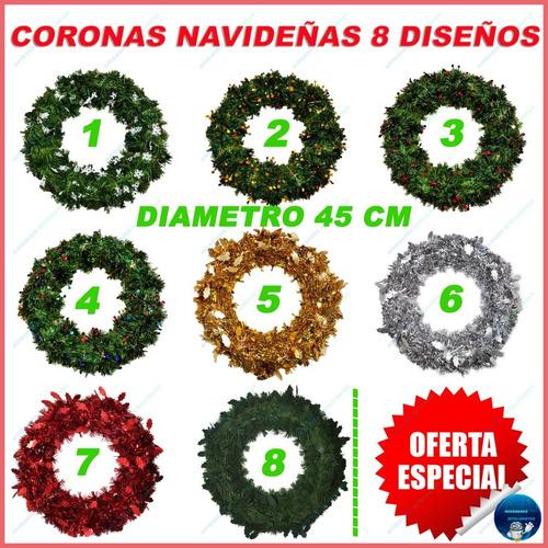 Coronas Navideñas Navidad Modelos Diferentes 45cm Mayoreo