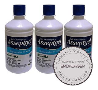03 Álcool Em Gel 70% Asseptgel Neutro Melhor Do Mercado 420g