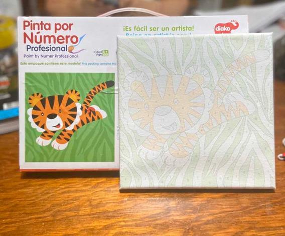 Pinta X Número Lienzos 20x20 Con Pintura Acrílica , Pinevems