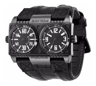 Reloj Police Pl 12899xsb/02 Hombre Cuero Negro Hora Dual