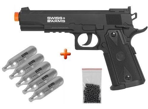 Pistola Pressão 1911 Match Co2 Swiss Arms 4.5mm + 05 Co2