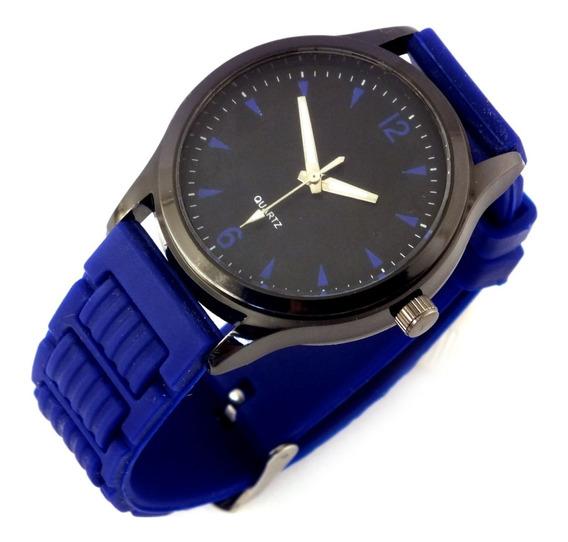 Relógio Masculino Quartz Pulseira Azul Em Borracha B5637