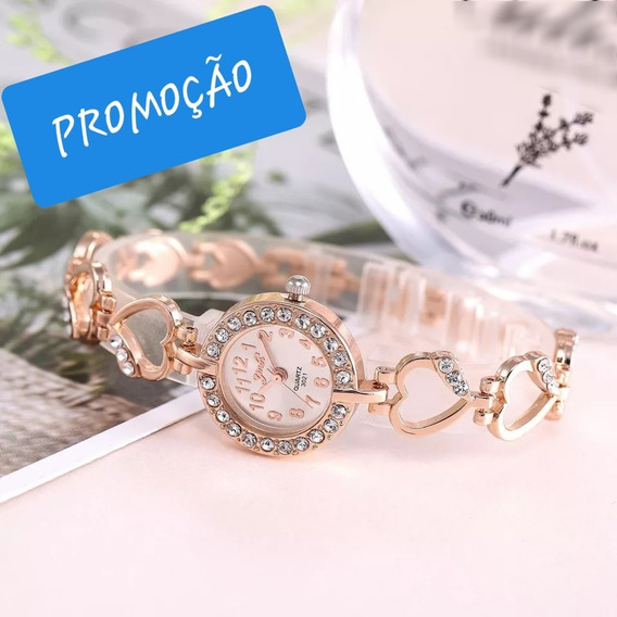 Relógio Fem De Luxo Rosa De Ouro