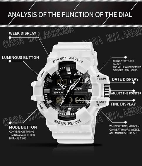 Relógio Masculino Esportivo Importado Original Casual Branco
