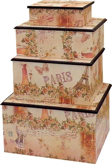 Kit Porta Jóias Vintage Paris 04 Pcs - Pronta Entrega