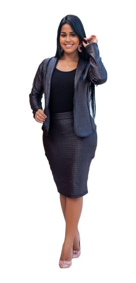 Saia Midi Lapis Social Secretaria Feminina Moda Evangelica