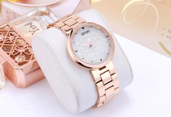 Relógio Feminino Luxo Original Pedras Brancas Frete Grátis