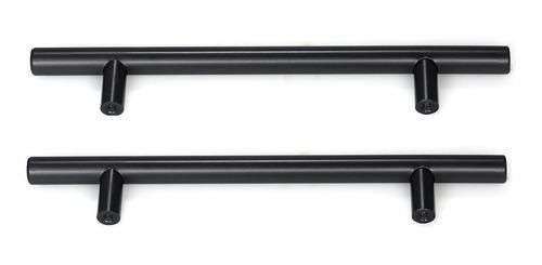 Imagem 1 de 6 de Puxador Móveis Haste Redonda Inox Preto 128mm - 12mm - Kit 2