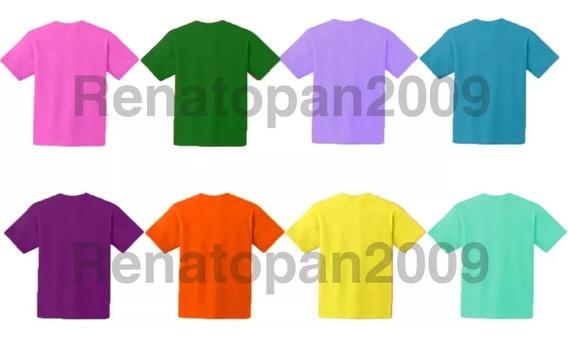 2 Piezas Franelas Unicolores Para Niños 100% Algodon 2 Unds