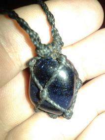 Stone Céu Azul Colar Cordão Couro Legítimo