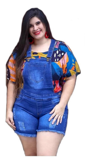 Jardineira Short Jeans Feminina Lycra Plus Size Jad09