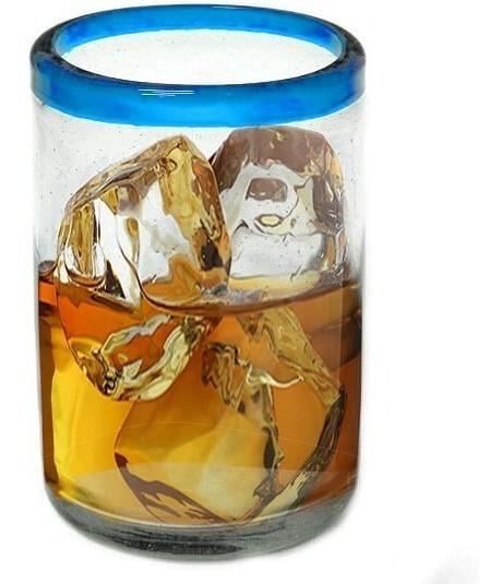 Vaso Para Agua De Vidrio Soplado Borde De Color (8x13cm)