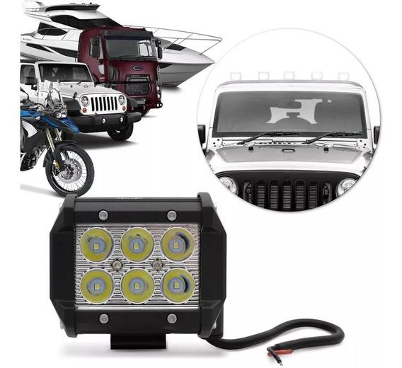 Farol Milha Quadrado Universal 18/24w 6 Leds Moto Carro Jeep