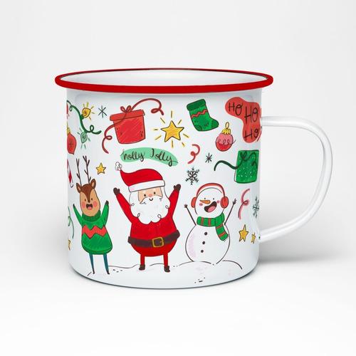 Imagen 1 de 10 de 8 Tazas Peltre Regalo Navidad - Diseños Navideños