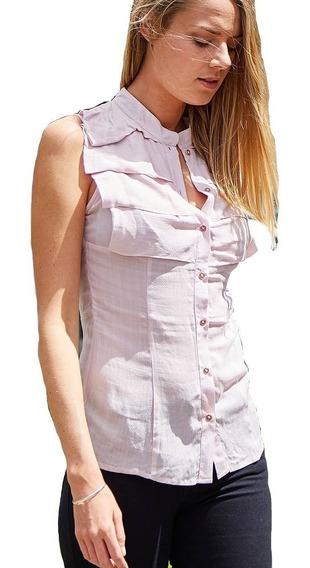 Blusa Mujer Rayón Con Textura Cuello Mao Musculosa Solo Xl