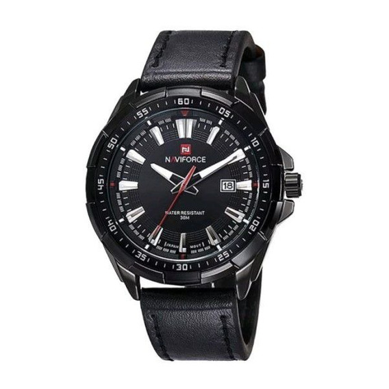Relógio Masculino Naviforce Original Couro Preto Cx Preta