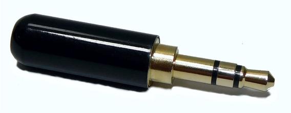 Ficha Conector Miniplug 3,5 Estereo Negro Cuerpo Reducido