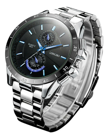 Relógio Luxo Promoção Longbo Black Prata