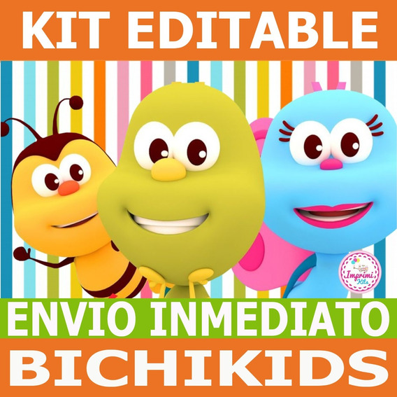 Kit Imprimible Bichikids Candy Bar, Deco, Banderin