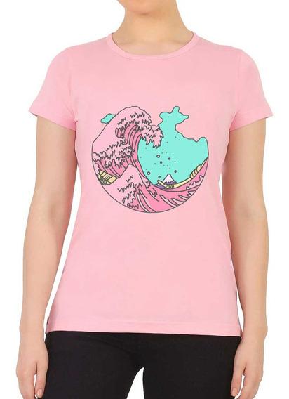 Playera Camiseta Unisex Moda Japonesa La Gran Ola Okinawa