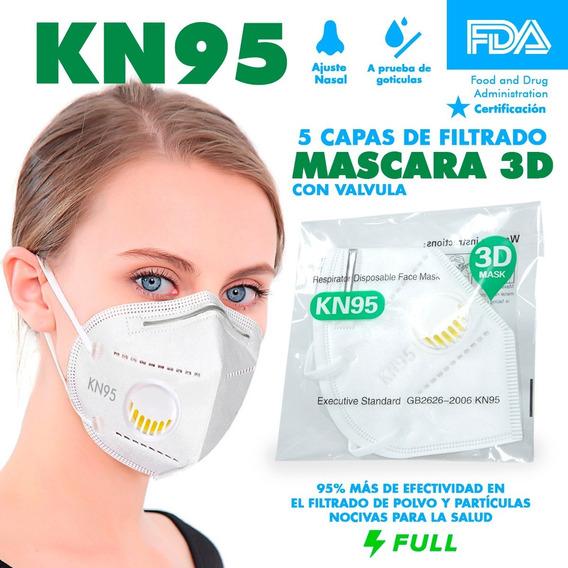Cubrebocas Kn95 Mascarilla Filtro Y Válvula Certificado