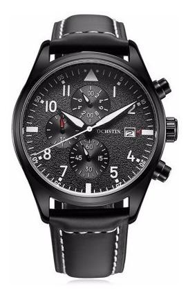 Reloj Para Caballero Hombre Estilo Piloto Correa Piel Negro