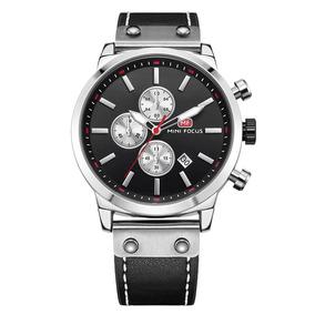 Mini Focus Luminoso Impermeable Negocios Cuero Reloj Banda H