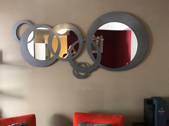 Espejo De Diseño En Metal 1,8x80cm Redondo