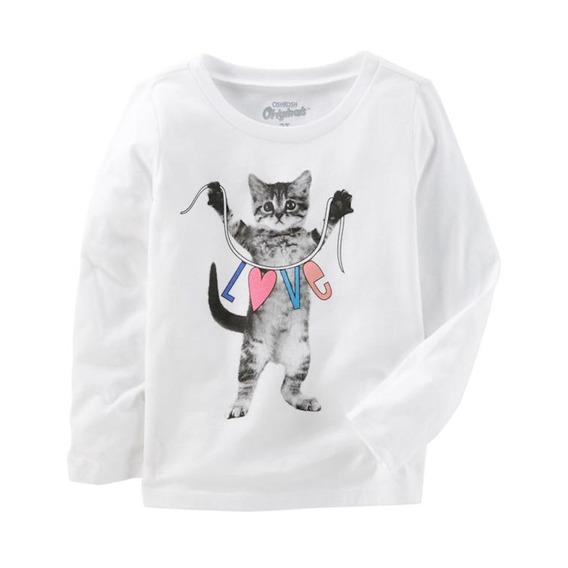 Blusa Manga Longa - Love The Cat - Oshkosh