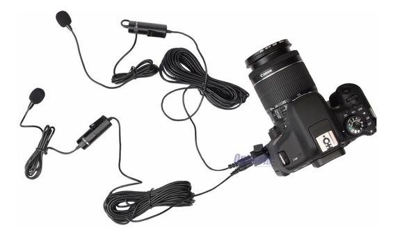 Microfone Duplo Lapela Com Fio Para Câmeras - Temos Loja