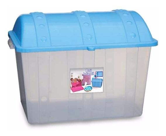Caixa Organizadora Plastica Transparente 43 L Tampa Azul