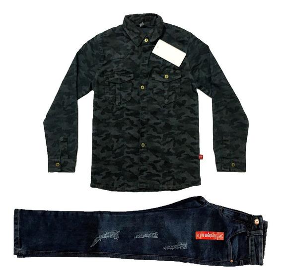 Conjunto Infantil E Juv Masc Camisa Camuflada + Calça Jeans